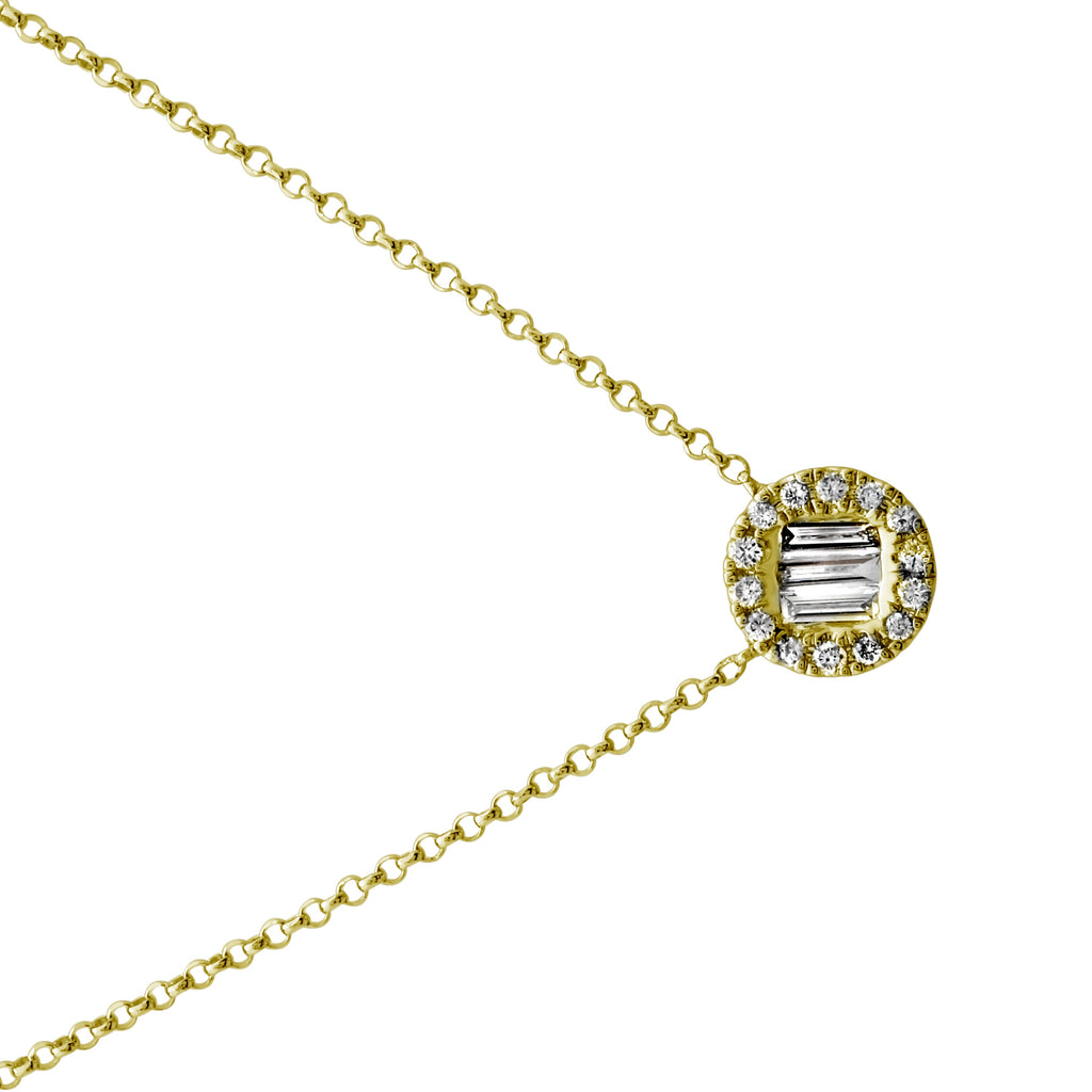 """Remark"" 14k Yellow Gold Diamond Accent Disc Pendant Necklace (1/6 cttw, H-I Color, I1-I2 Clarity), 16+2"" Extender"