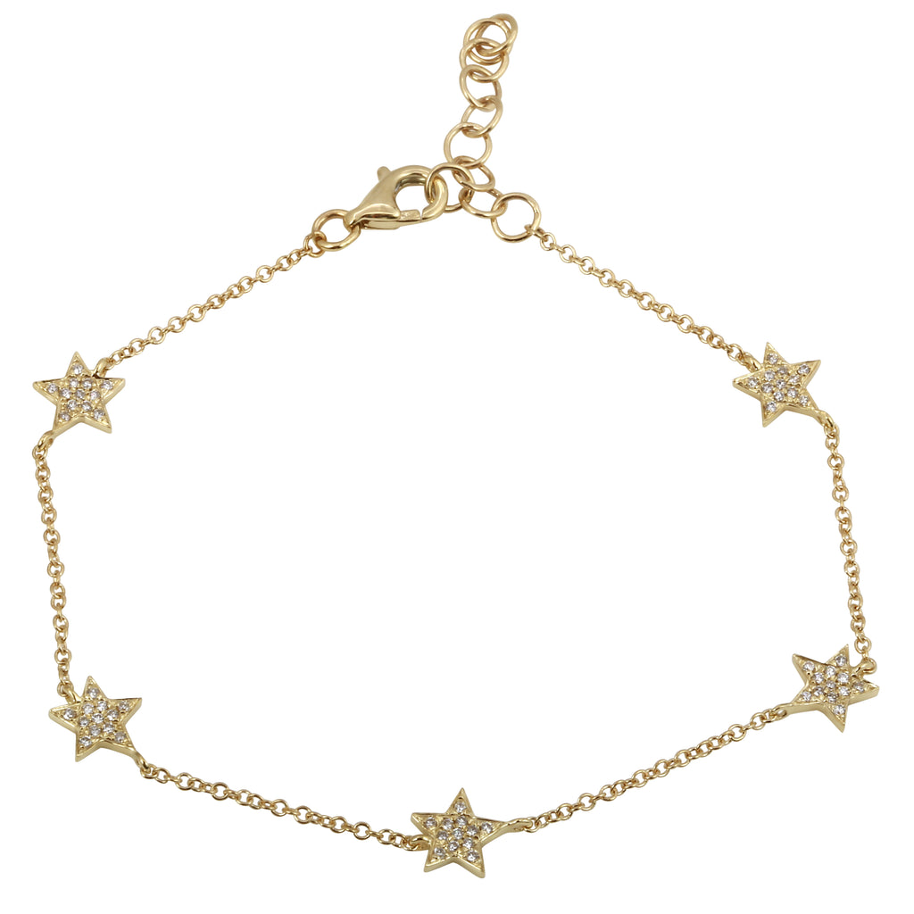 14k Yellow Gold Diamond Pave Star Charm Bracelet (1/8 cttw), 6+1""