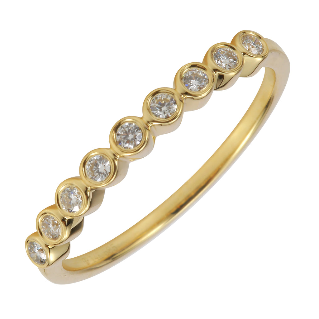 14k Yellow Gold Diamond Bezel Band Ring (1/10 cttw, J-K Color, SI2-I1 Clarity)