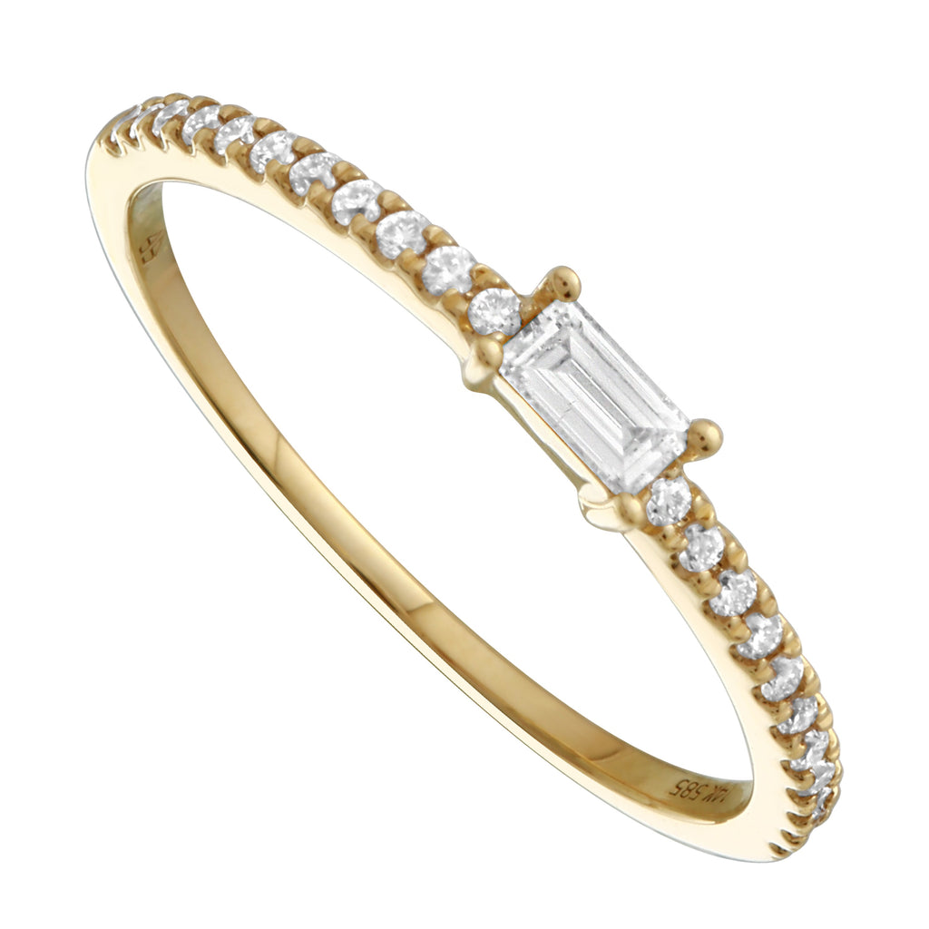 14k Yellow Gold Diamond Baguette Solitaire Pave Ring (1/5 cttw, H-I Color, I1-I2 Clarity)