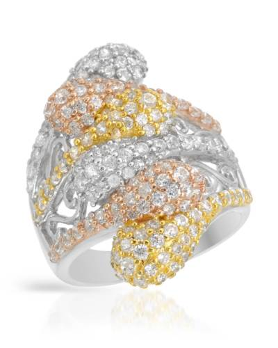 Designer Cocktail Ring Sterling Silver Yellow Pink CZ