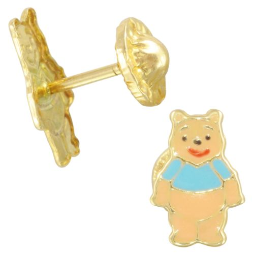 14k Yellow Gold Honey Bear Baby Stud Earrings