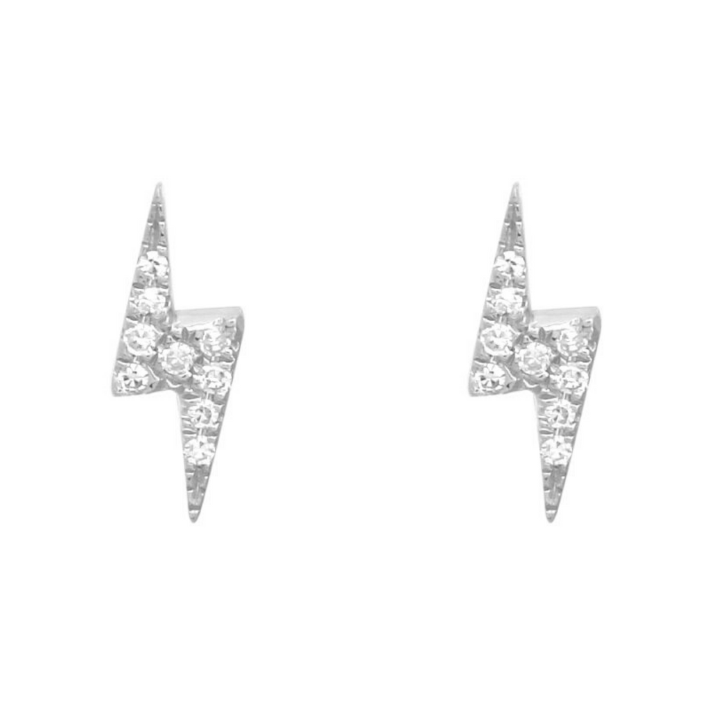 14k White Gold Diamond Lightning Bolt Stud Earrings (0.04 cttw, H-I Color, I1-I2 Clarity)