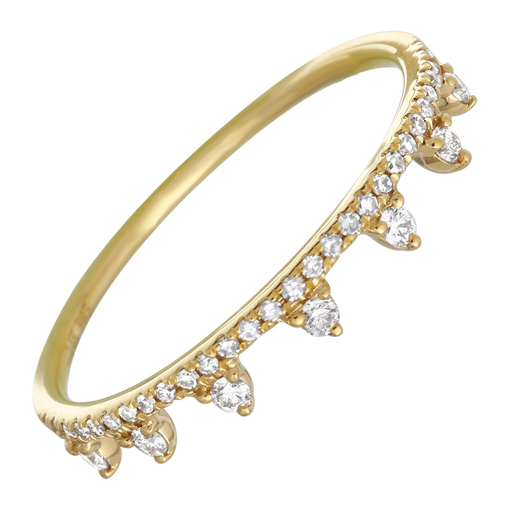 14k Yellow Gold Diamond Accent Crown Ring (1/5 carat)