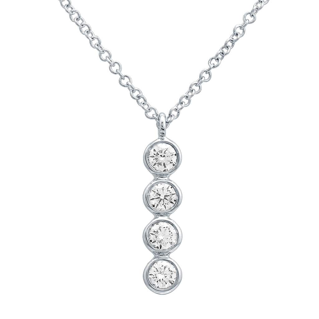14k White Gold 4 Diamond Bezel Linear Pendant Necklace (1/4 cttw, J-K, SI2-I1), 16+2""