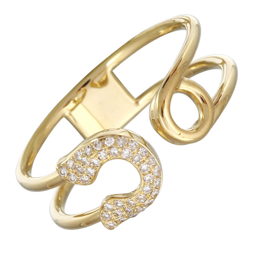14k Yellow Gold Diamond Pave Safety Pin Open Ring (0.08 cttw, H-I Color, I1-I2 Clarity)
