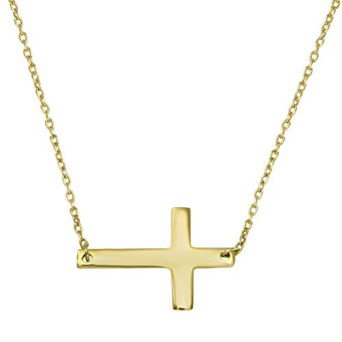 Women's 14k Yellow Gold Slanted Cross Pendant Necklace, 18""