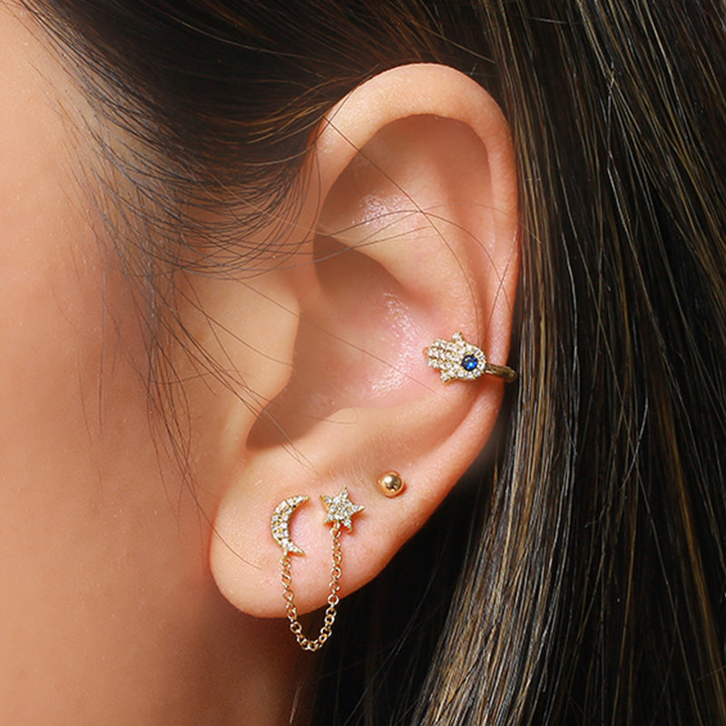 14k Yellow Gold Diamond Moon Star Double Stud Earrings (1/10 cttw, H-I Color, I1-I2 Clarity)