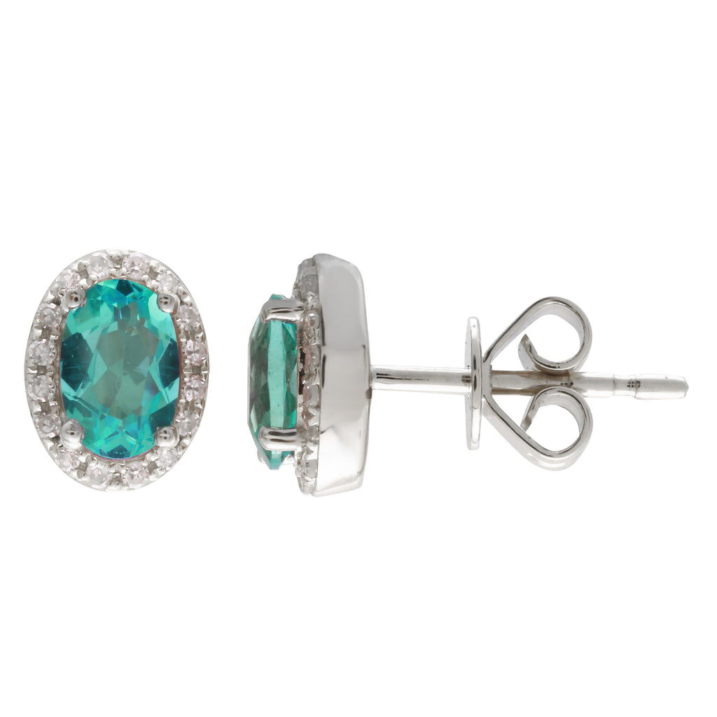 14k White Gold Diamond Apatite Oval Halo Stud Earrings (1/10 cttw)