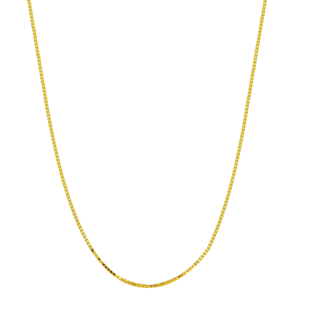 Women's 14k Yellow Gold .7mm Box Chain Necklace