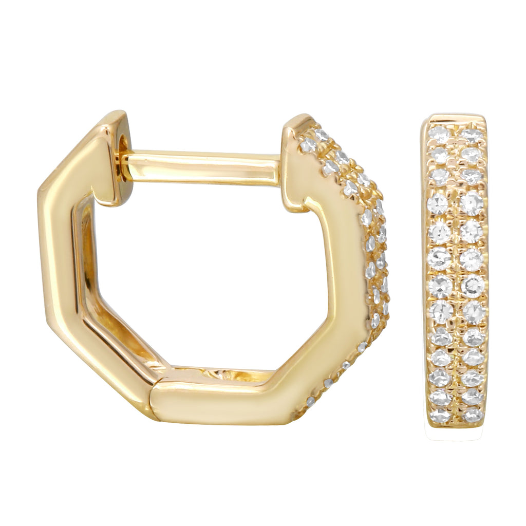 14k Yellow Gold Diamond Pave Octagon Hoop Earrings (1/10 cttw, H-I Color, I1-I2 Clarity), 6mm Diameter