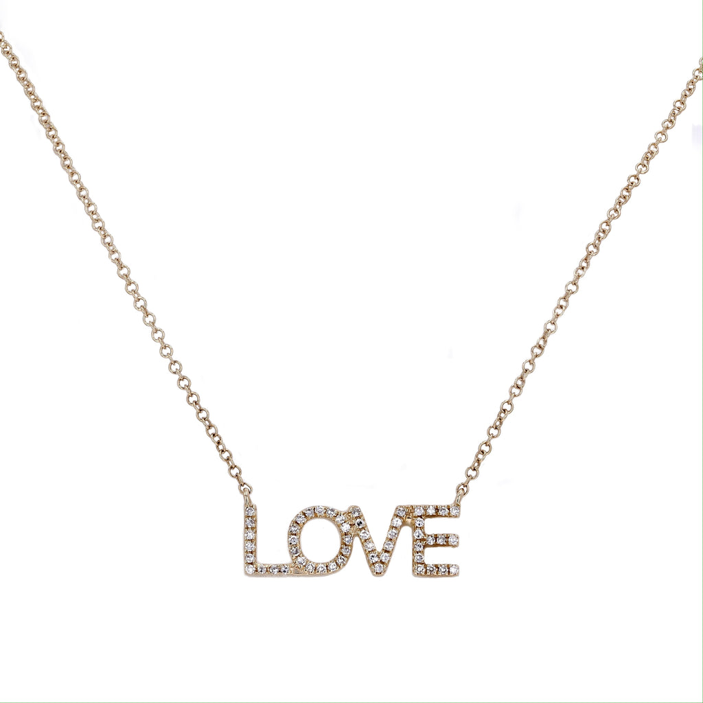 14k Yellow Gold Diamond Pave Love Message Pendant Necklace (1/10 cttw), 16-18""