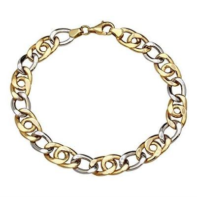 Women's Two-Tone Gold Cuban Link Chain Bracelet, 7.5""