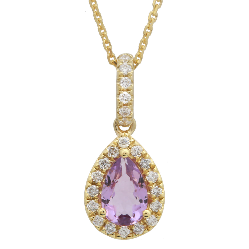 14k Yellow Gold Amethyst Diamond Pear Halo Pendant Necklace (1/10 cttw, I-J Color, I2-I3 Clarity), 16+2""