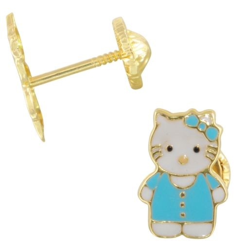 14k Yellow Gold Blue Kitty Cat Baby Stud Earrings - Bee Jewels