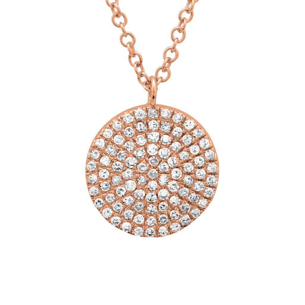 14k Rose Gold Diamond Pave Disc Pendant Necklace (1/5 cttw, H-I, I1-I2), 16+2""