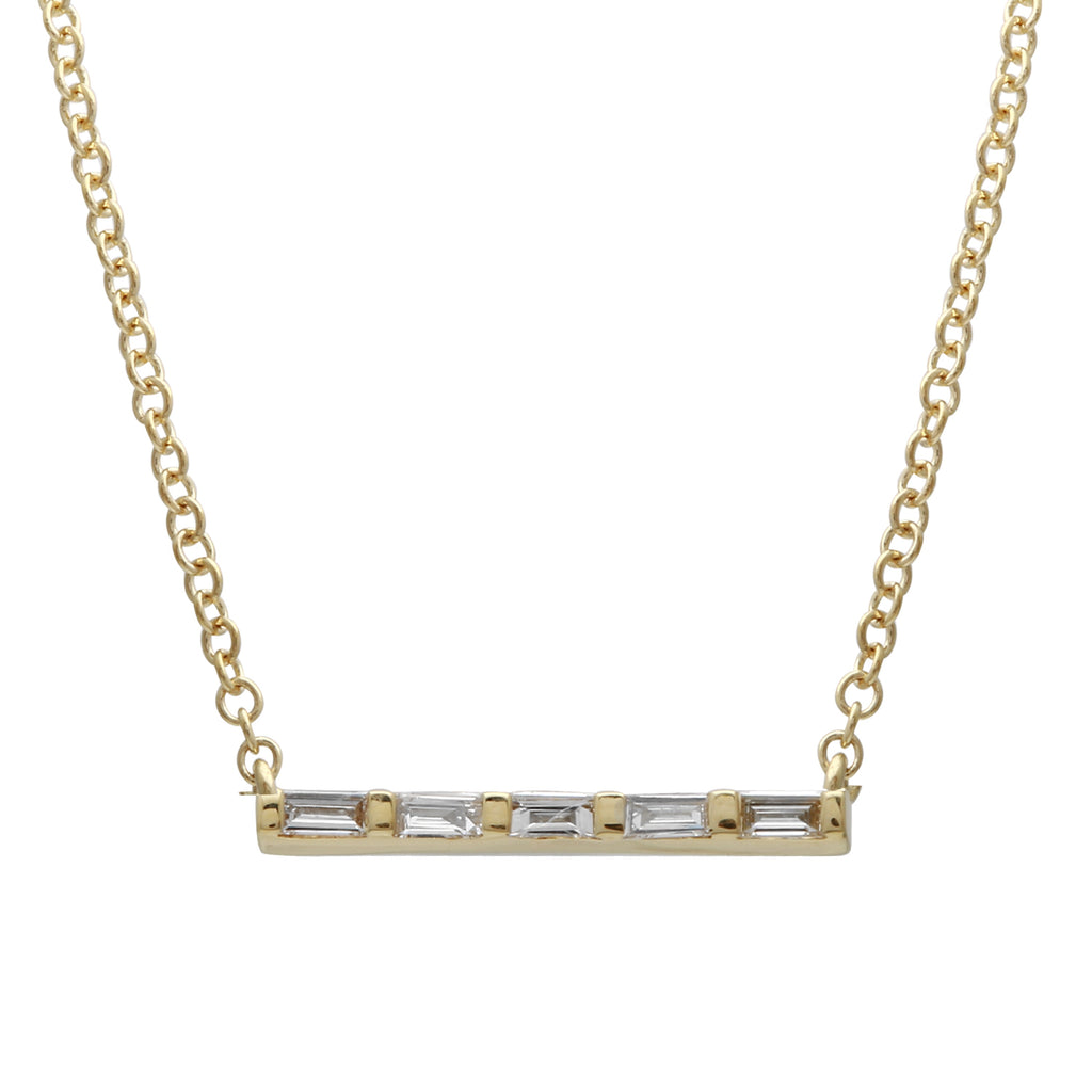 14k Yellow Gold Baguette Diamond Floating Bar Pendant Necklace (1/20 cttw), 16+2""