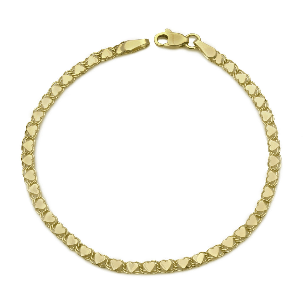 14k Yellow Gold Linked Hearts Link Bracelet, 7""