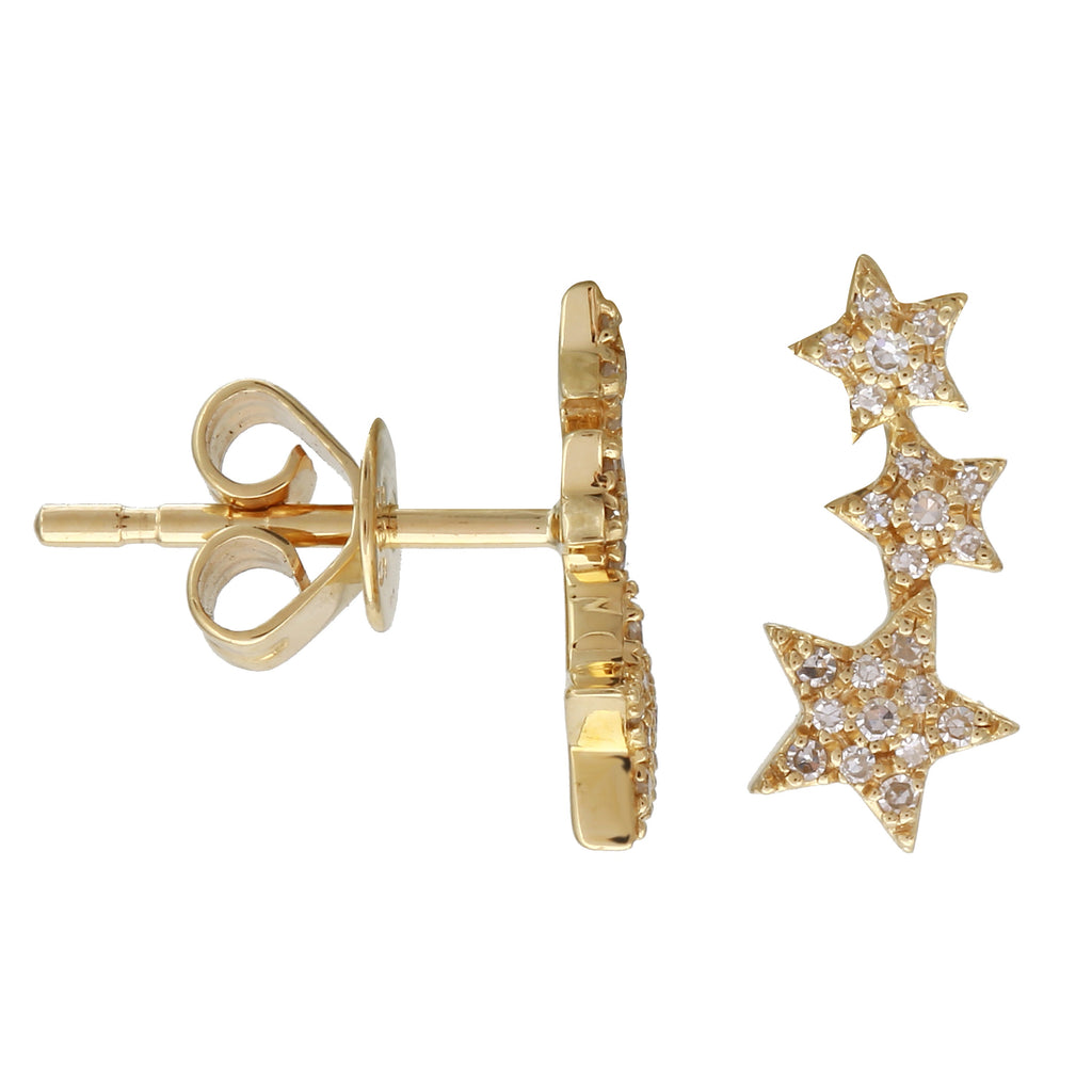 14k Yellow Gold Diamond Ascending Celestial Star Trio Stud Earrings (1/10 cttw)