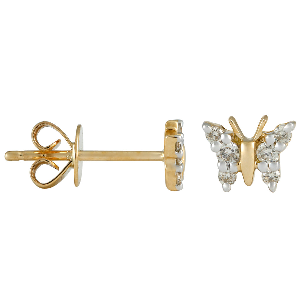 14k Yellow Gold Diamond Butterfly Stud Earrings (1/10 cttw)