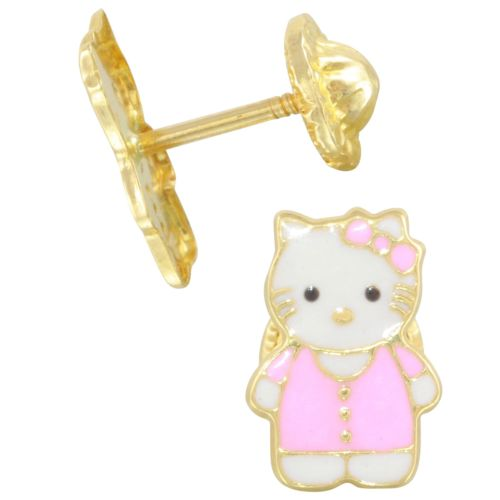 14k Yellow Gold Pink Kitty Baby Stud Earrings
