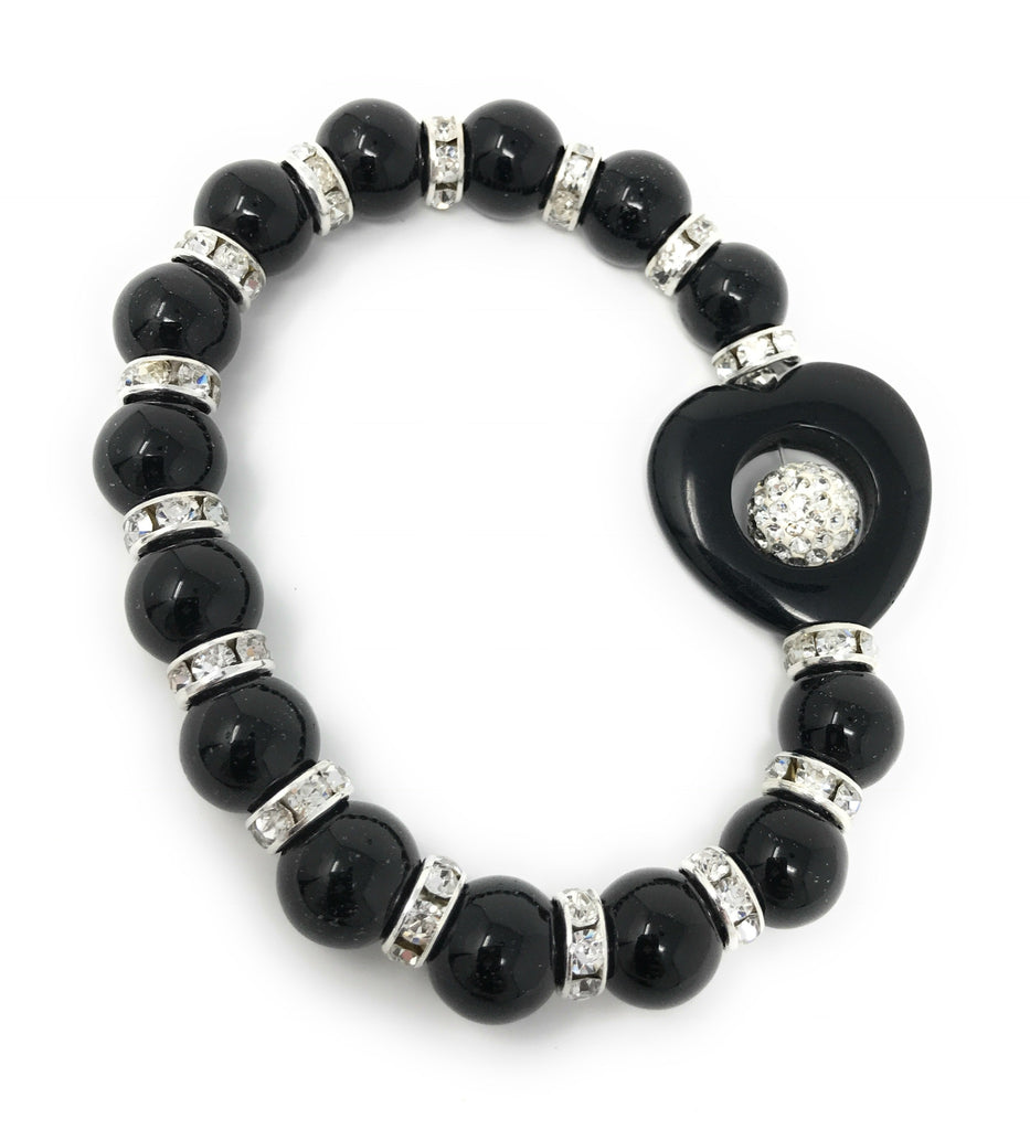 Black Beads Crystal CZ Dividers Heart Charm Bracelet