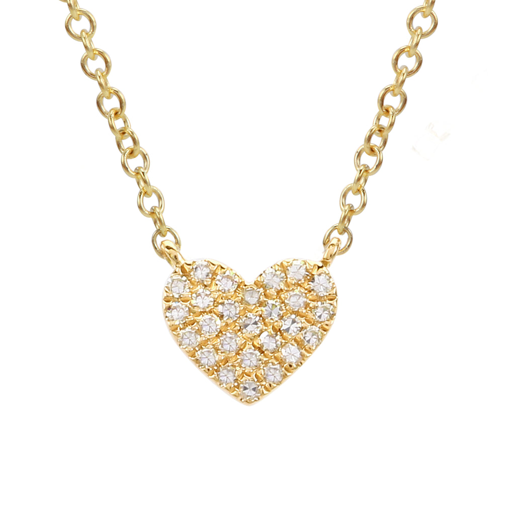 Remark 14k Yellow Gold Diamond Pave Heart Charm Pendant Necklace (1/20 cttw), 16+2""