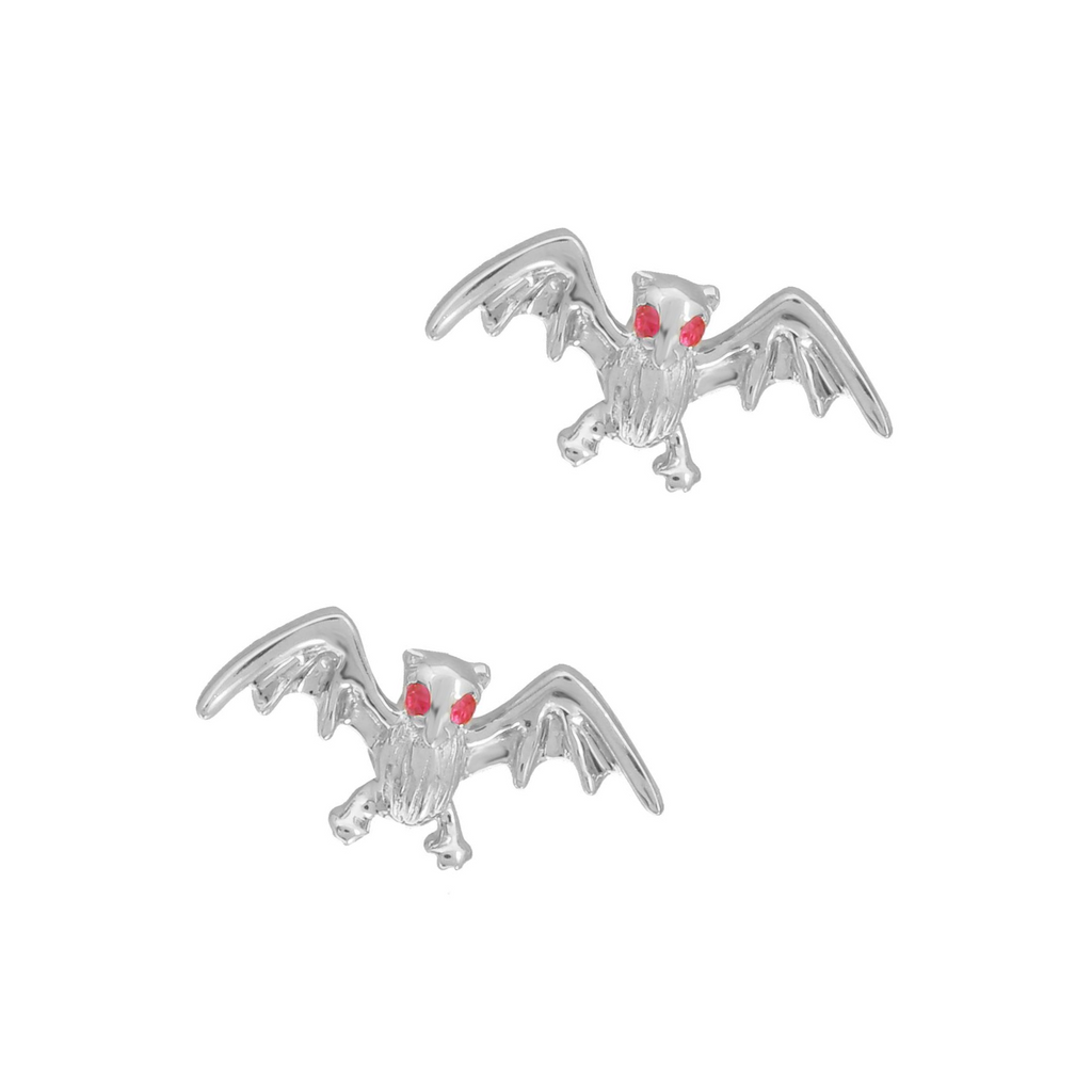 14k White Gold Ruby Bat Stud Earrings (1/20 cttw)