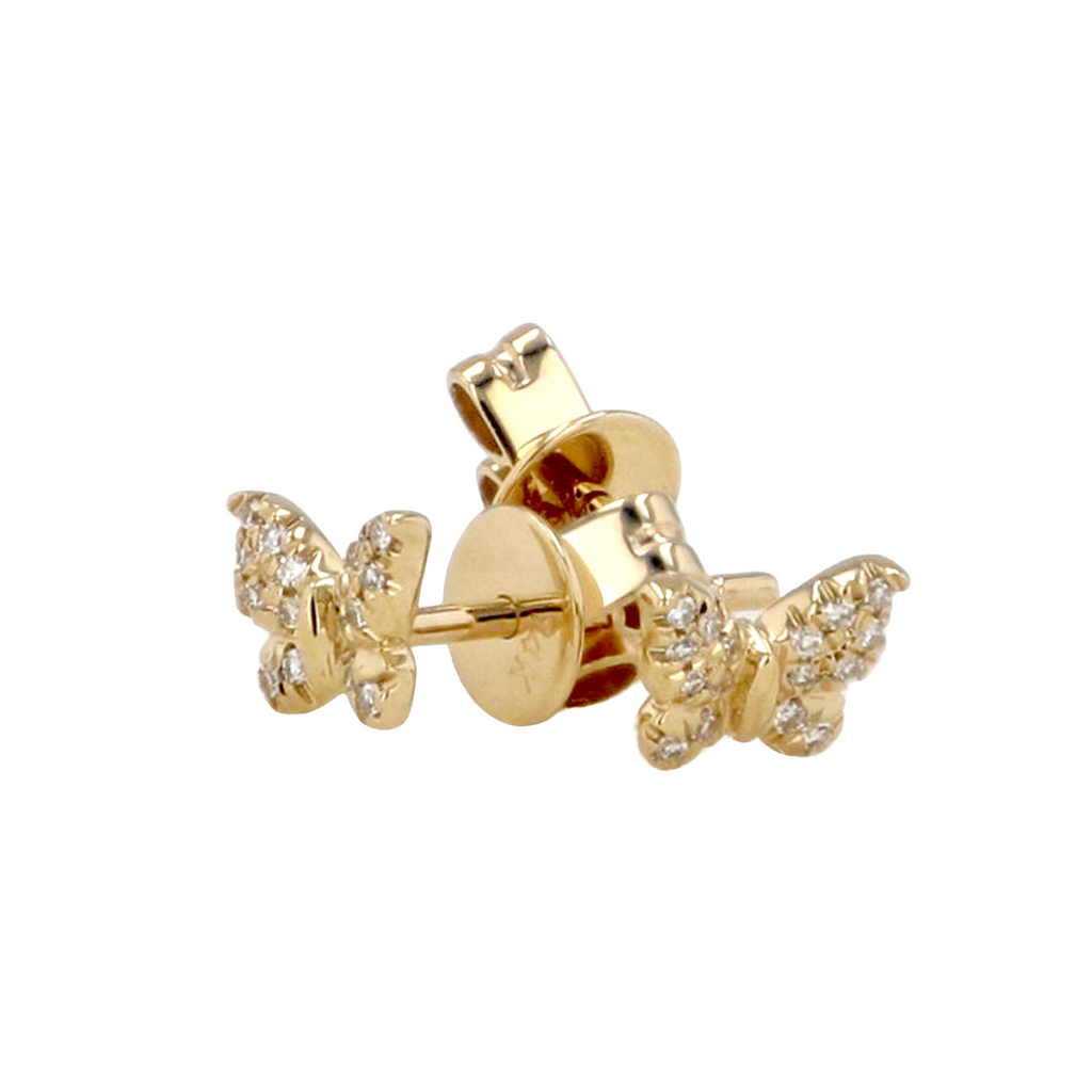 14k Yellow Gold Diamond Mini Butterfly Stud Earrings (1/20 cttw)