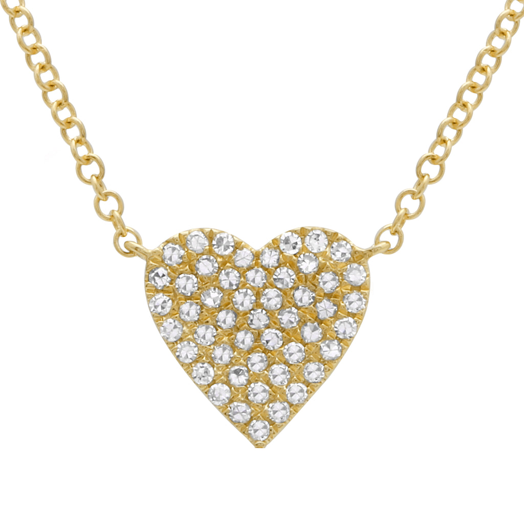 "14k Yellow Gold Diamond Pave Heart Pendant Necklace (1/10 cttw, H-I Color, I1-I2 Clarity), 16+2"" Extender"