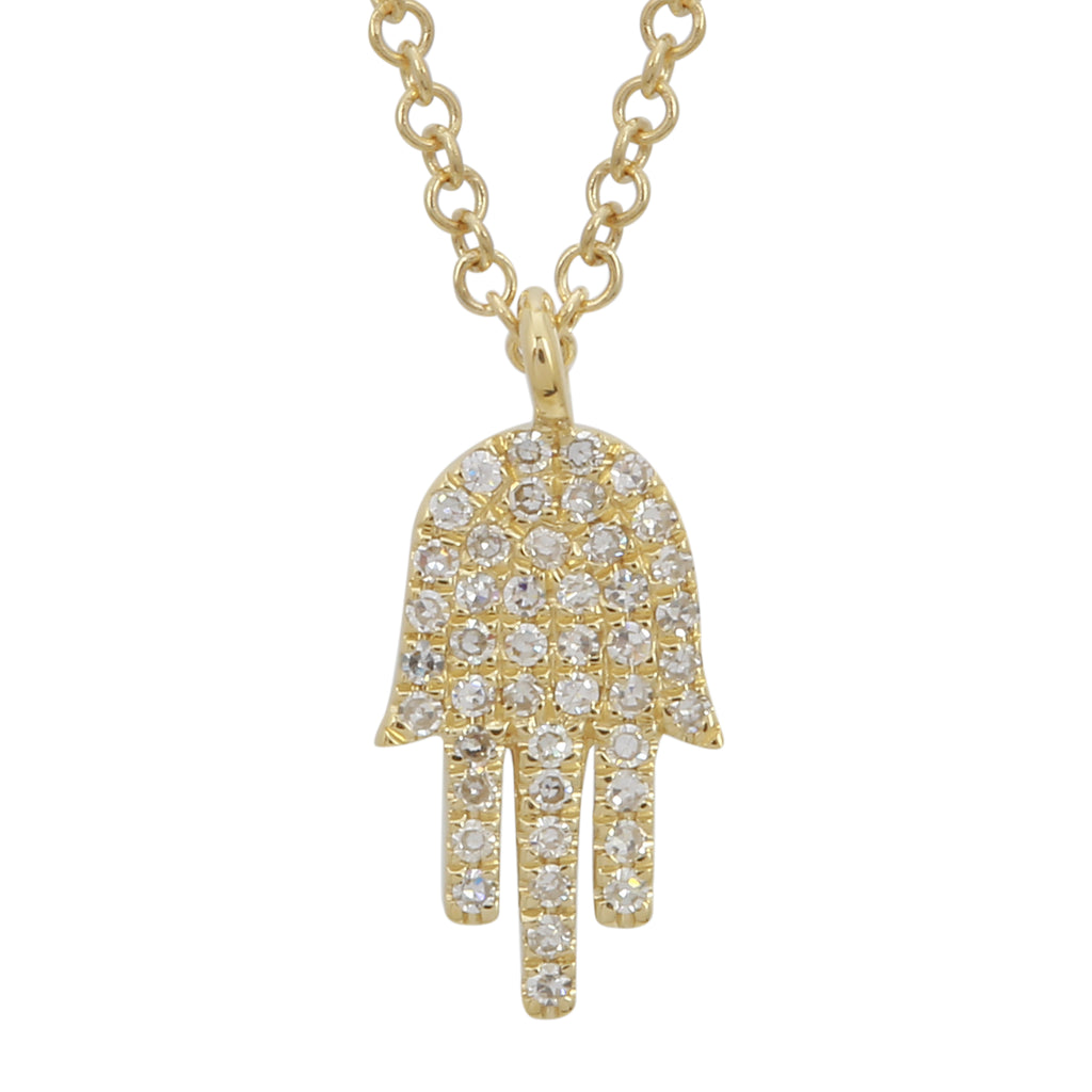 14k Yellow Gold Diamond Hamsa Hand Pendant Necklace (1/10 cttw, I-J Color, I2-I3 Clarity), 16+2""