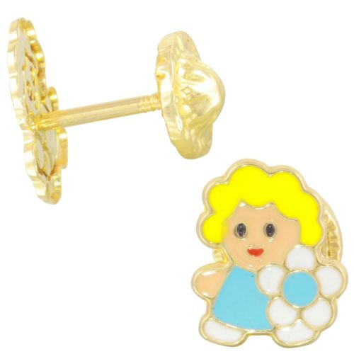 Blonde Girl With Flower Solid Yellow 14k Yellow Gold Enamel Baby Earrings