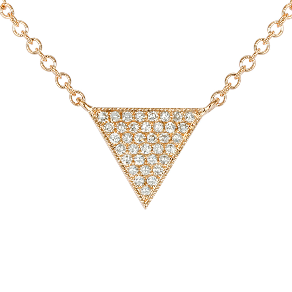 14k Yellow Gold Diamond Floating Triangle Pendant Necklace (1/20 cttw), 16+2""