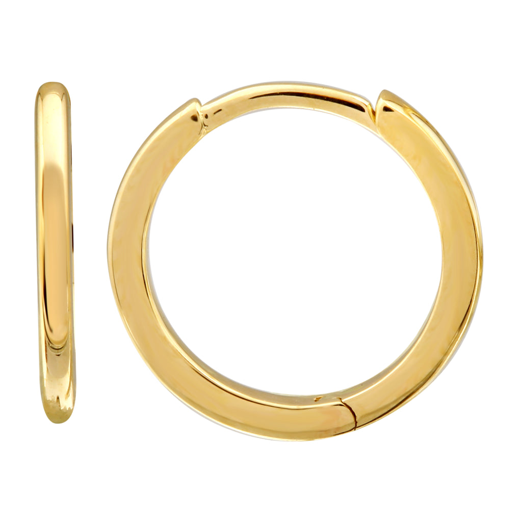 14k Yellow Gold Smooth Huggie Hoop Earrings, 12mm Diameter