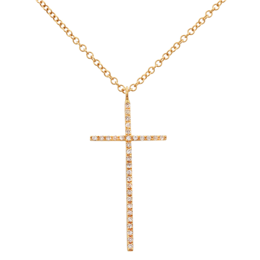 "14k Yellow Gold Diamond Pave Cross Pendant Necklace (0.07 cttw, H-I Color, I1-I2 Clarity), 16+2"" Extender"