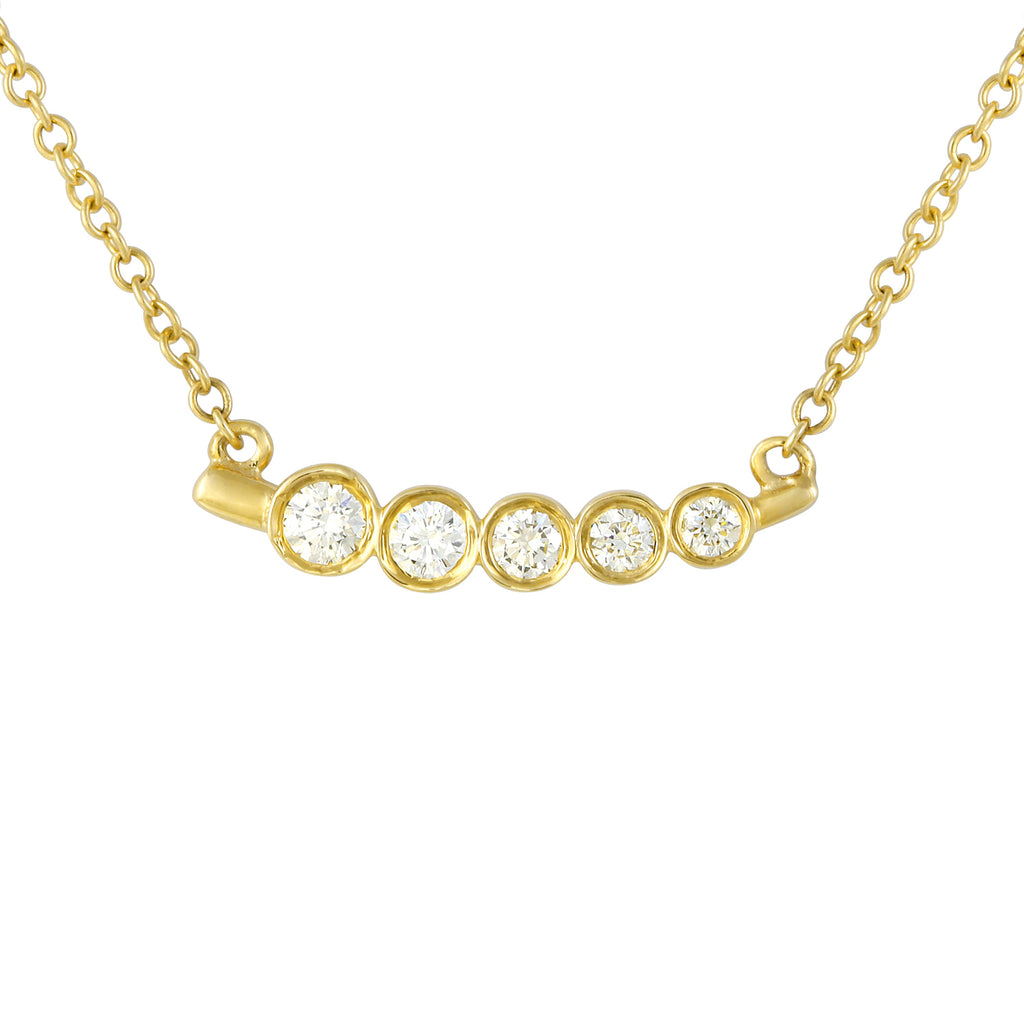 "Remark 14k Yellow Gold Diamond Eternity Bar Pendant Necklace (1/10 cttw, J-K Color, SI2-I1 Clarity), 16+2"" Extender"