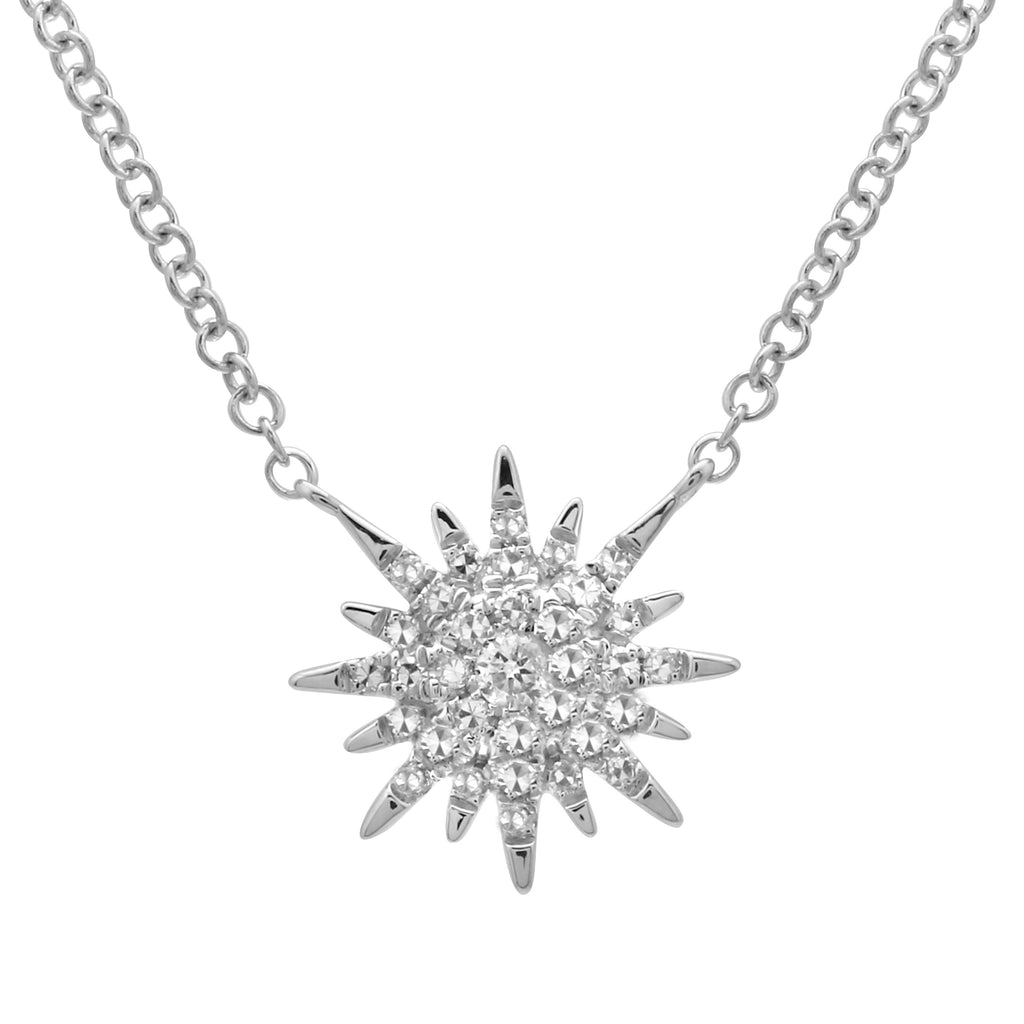 14k White Gold Diamond Pave Sun Shine Burst Pendant Necklace (1/10 cttw), 16+2""