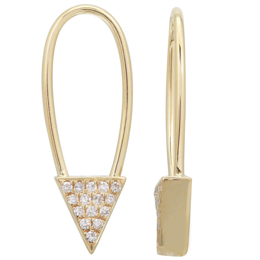 14k Yellow Gold Diamond Triangle Endless Threader Drop Earrings (0.06 cttw, H-I Color, I1-I2 Clarity)