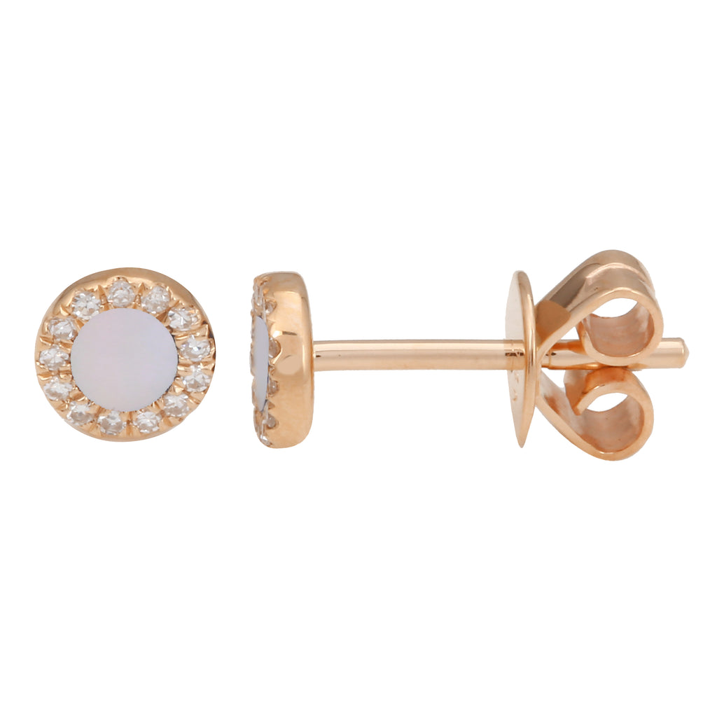 14k Rose Gold Diamond Mop MIni Halo Stud Earrings (1/20 cttw, H-I Color, I2-I3 Clarity)