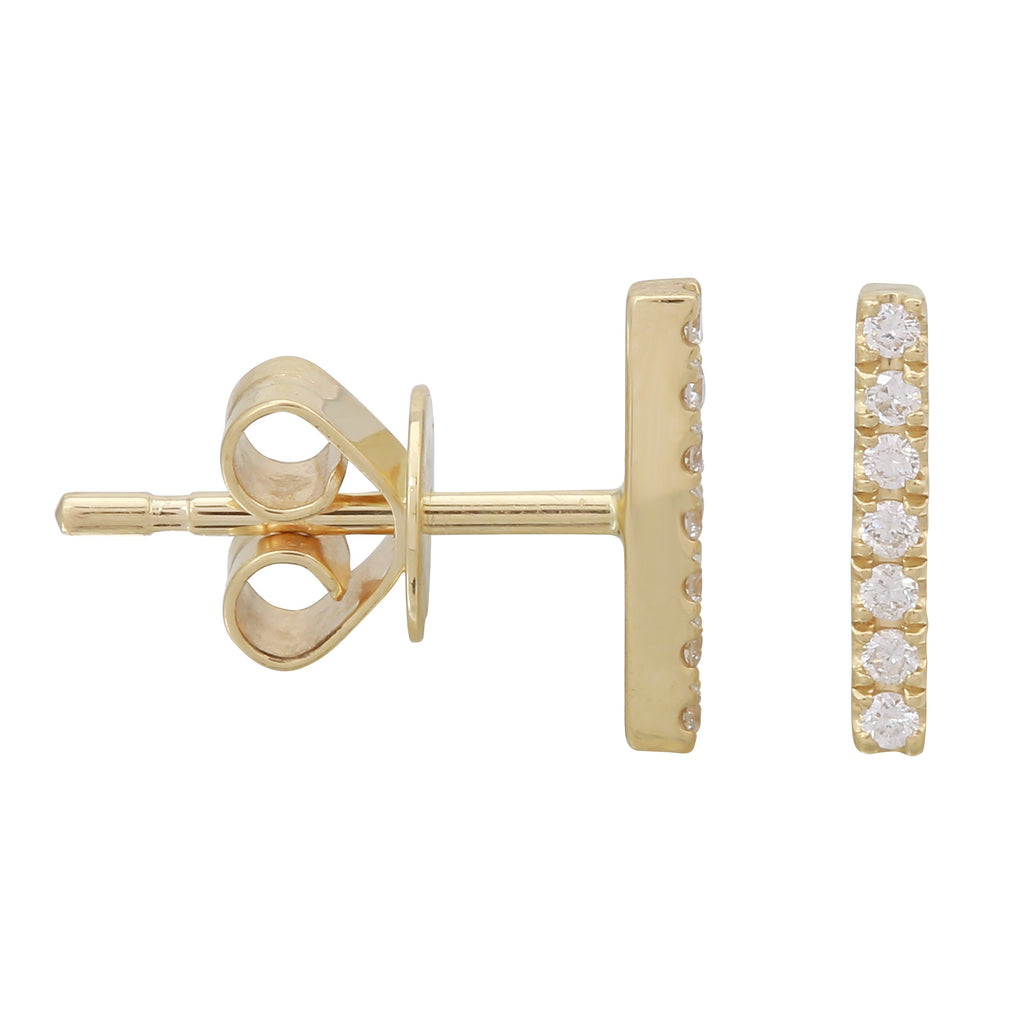 14k Yellow Gold Diamond Long Bar Stud Earrings (1/20 carat)