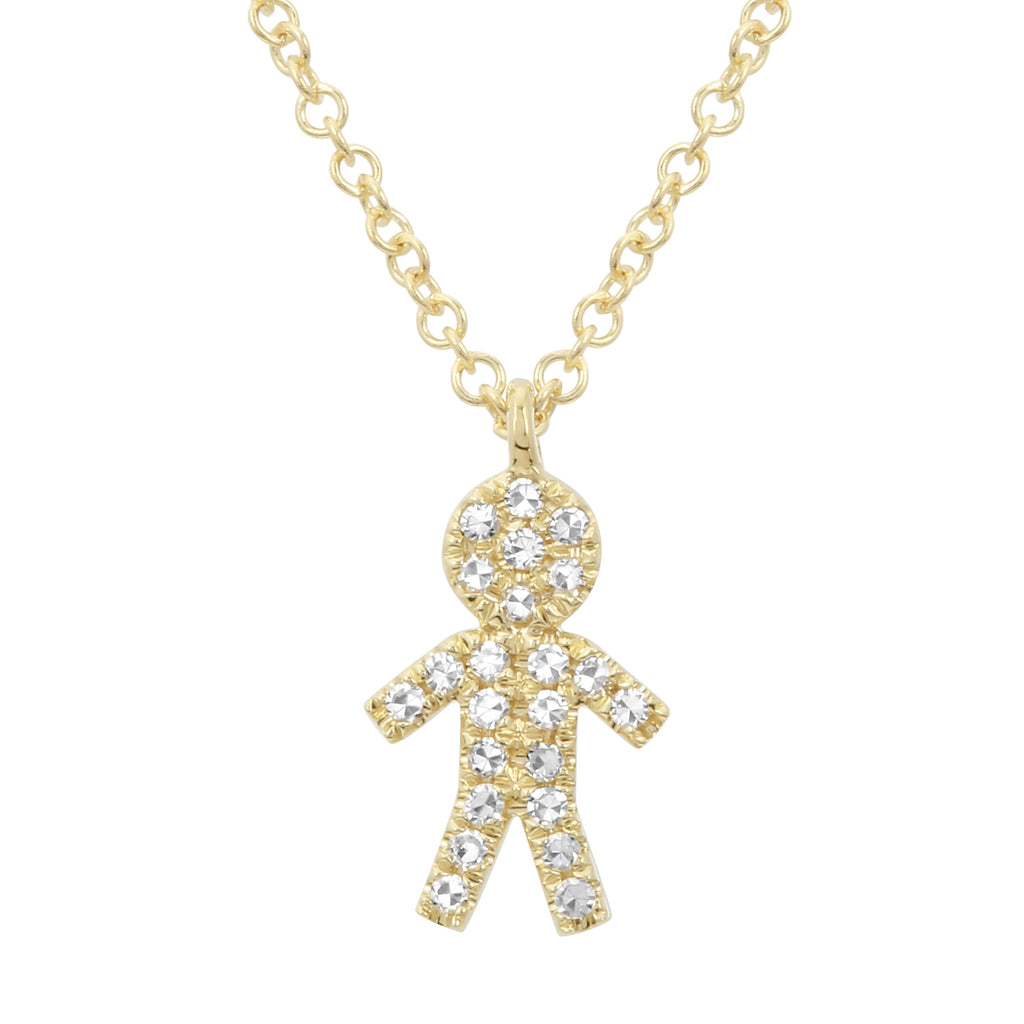 """Remark"" 14k Yellow Gold Diamond Pave Boy Charm Pendant Necklace (0.08 cttw, H-I Color, I1-I2 Clarity), 16+2"" Extender"