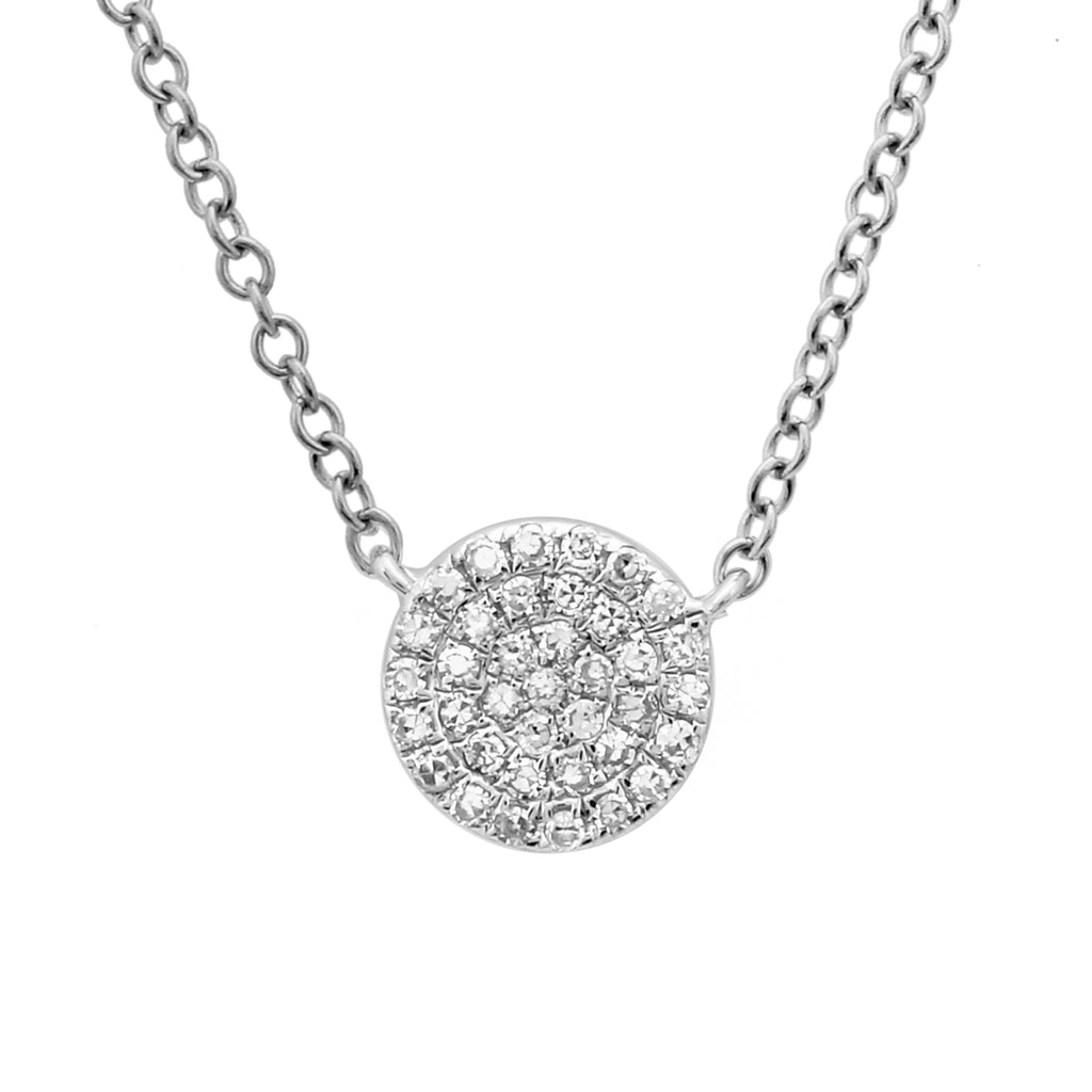"14k White Gold Diamond Pave Suspended Disc Pendant Necklace (1/10 cttw, H-I Color, I1-I2 Clarity), 16+2"" Extender"