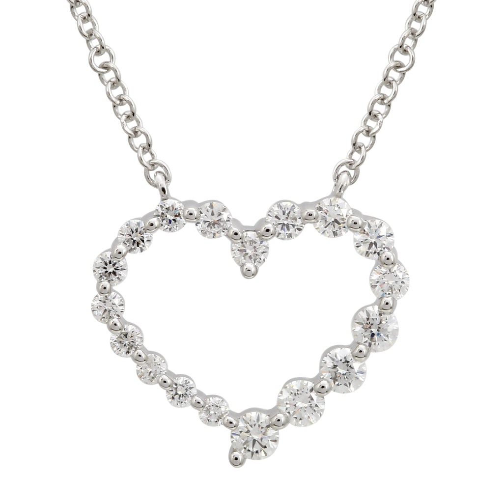 "14k White Gold Diamond Accent Open Heart Pendant Necklace (3/8 cttw, J-K Color, I1-I2 Clarity), 16+2"" Extender"
