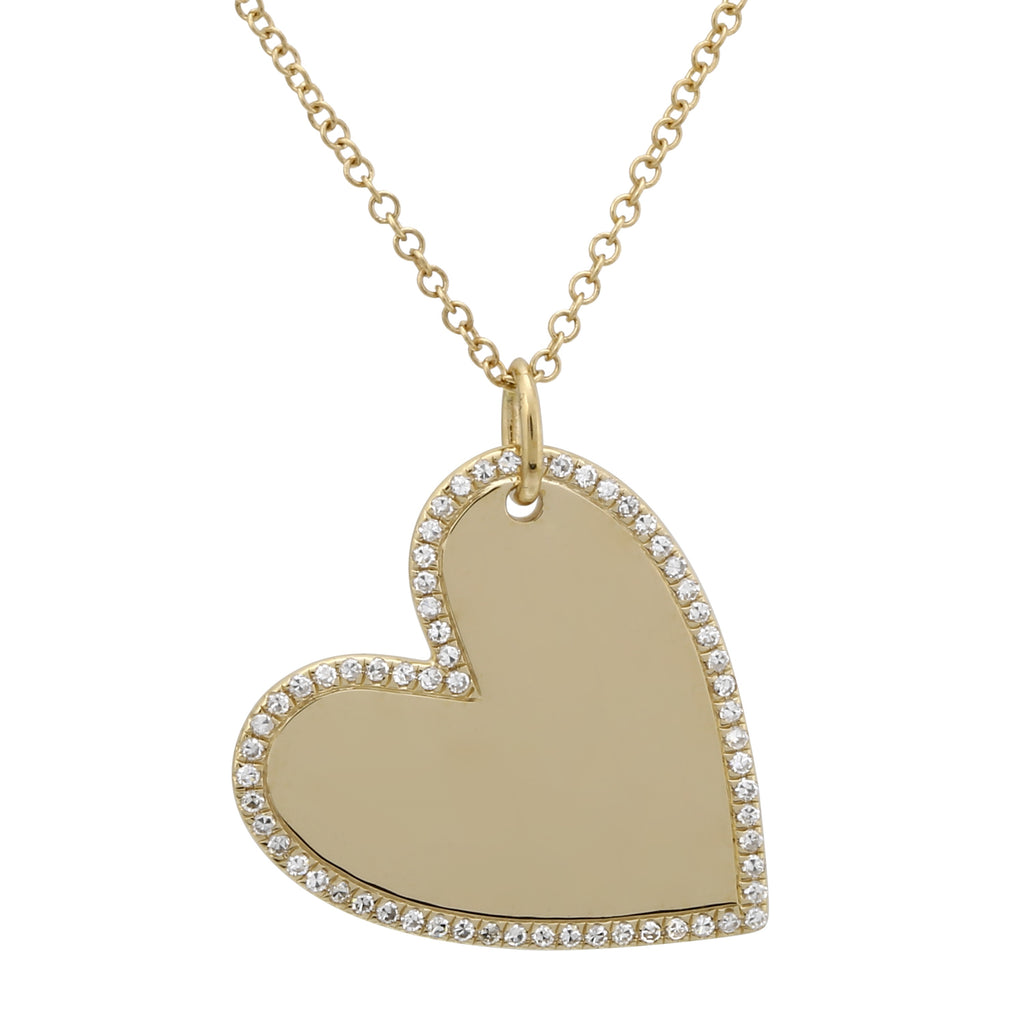 "14k Yellow Gold Diamond Pave Swag Heart Pendant Necklace (1/5 cttw, H-I Color, I1-I2 Clarity), 16+2"" Extender"