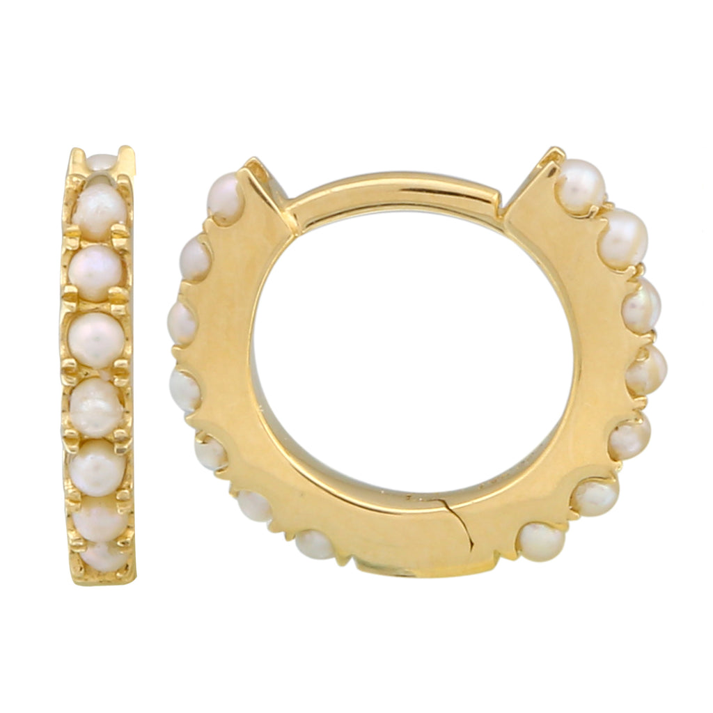 14k Yellow Gold Fresh Water Pearl Beaded Hoop Earrings, 11mm Diameter