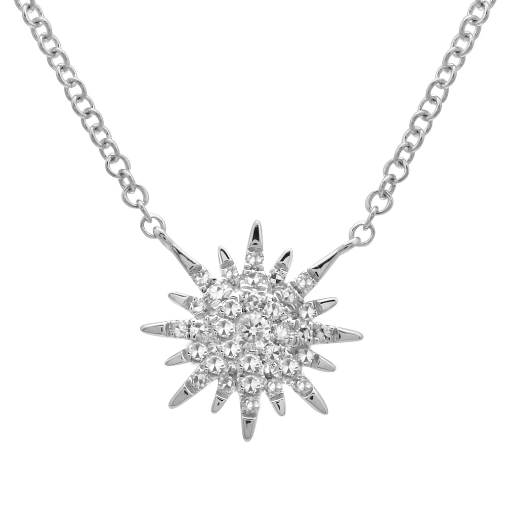 "14k White Gold Diamond Pave Sun Shine Burst Pendant Necklace (1/10 cttw,J-K Color, I2-I3 Clarity), 16+2"" Extender"