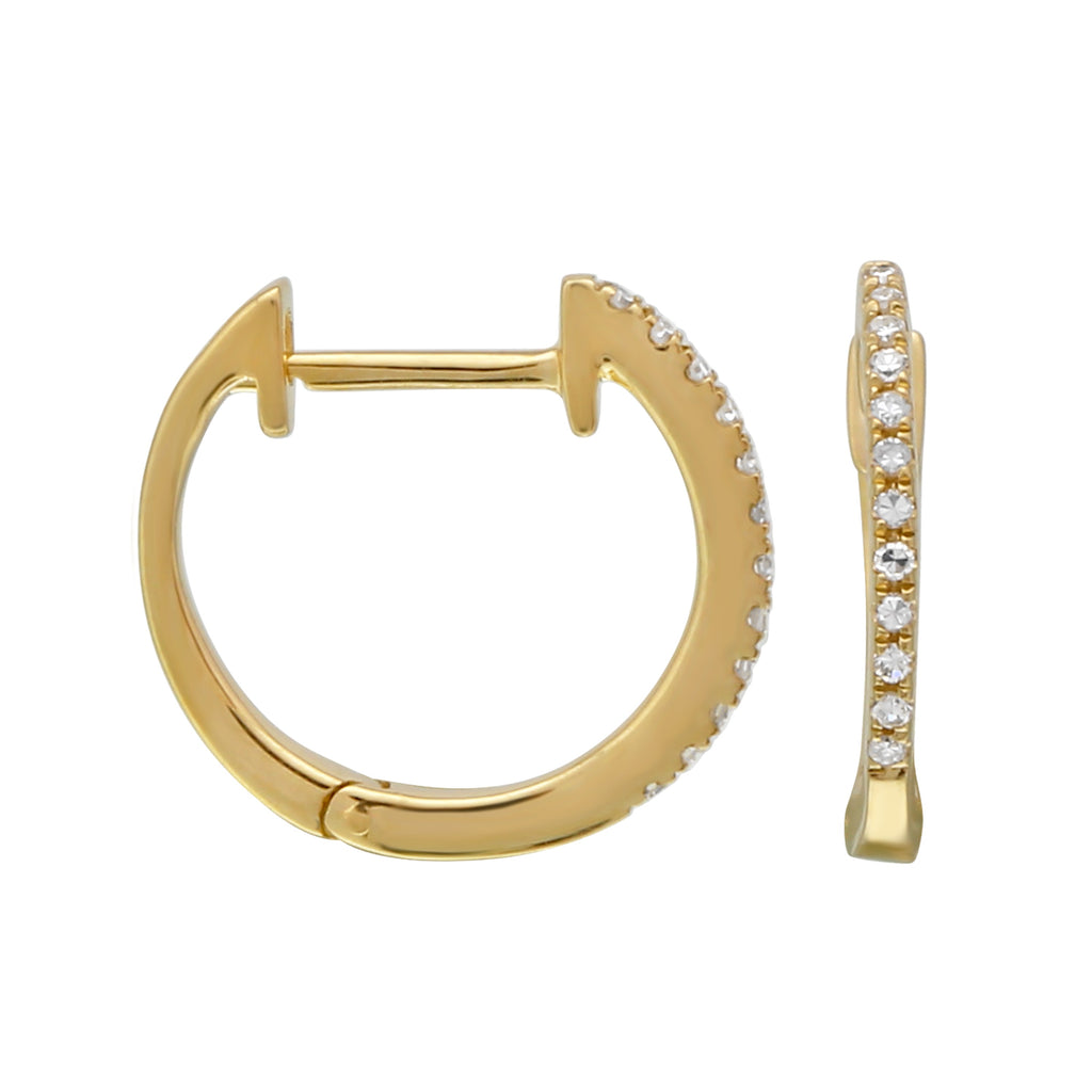 14k Yellow Gold Diamond Pave Curved Hoop Earrings (1/20 cttw), 11.8mm Diameter