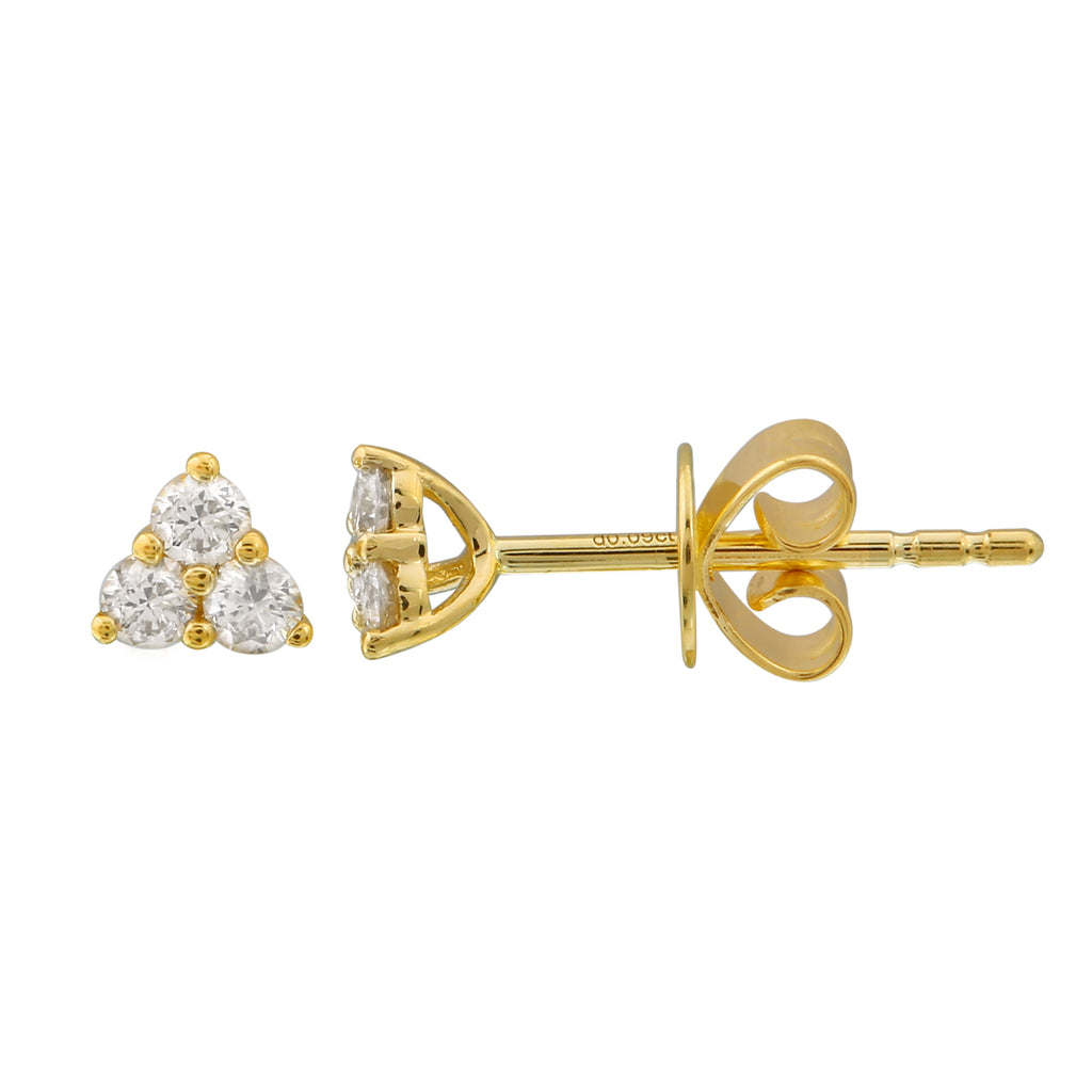 14k Yellow Gold Diamond Trio Stud Earrings (1/5 cttw, H-I Color, I1-I2 Clarity)