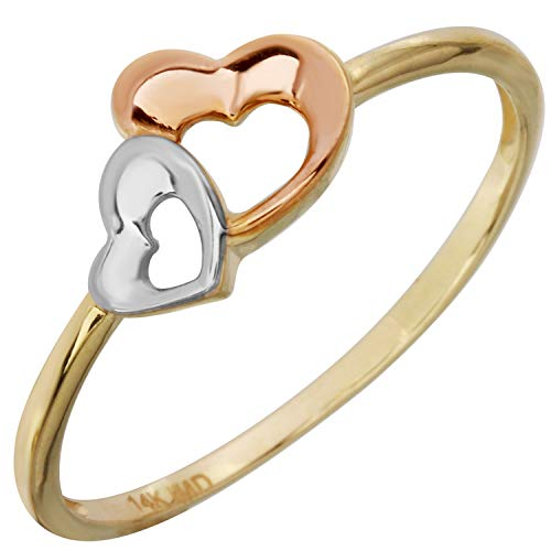 Bee Jewels Women's 14k Tri-Color Gold Double Heart Band Ring, Size 7