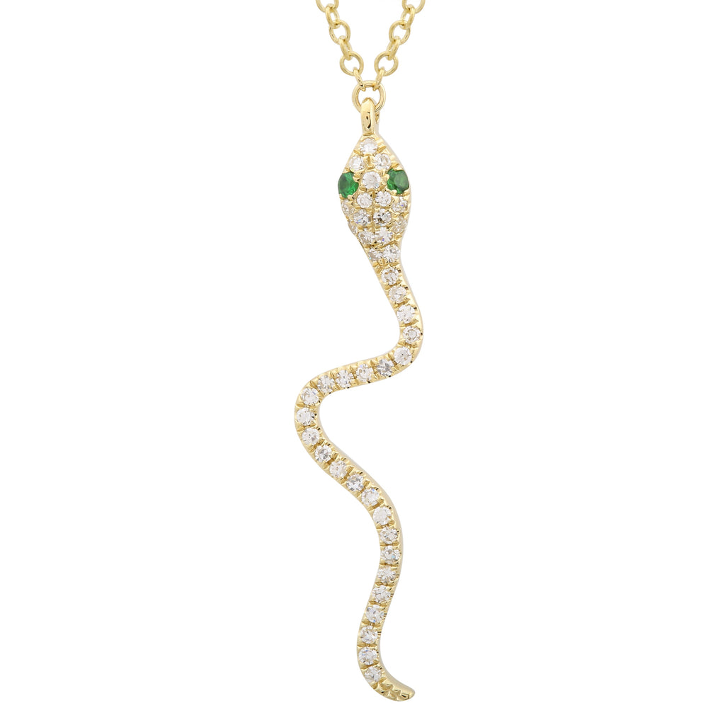 14k Yellow Gold Diamond Tsavorite Snake Pendant Necklace (1/10 cttw, H-I, I1-I2), 16+2""